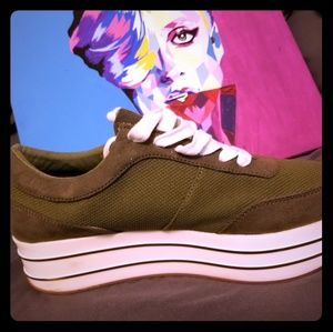 Zara green platform sneakers